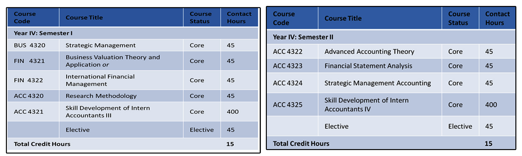 Fourth Year -Accounting Specialization