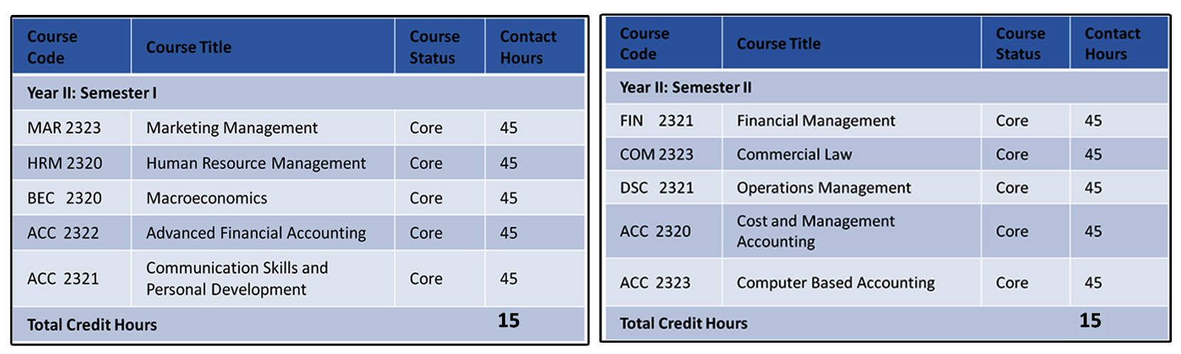 Second -Fourth Years -Accounting specialization