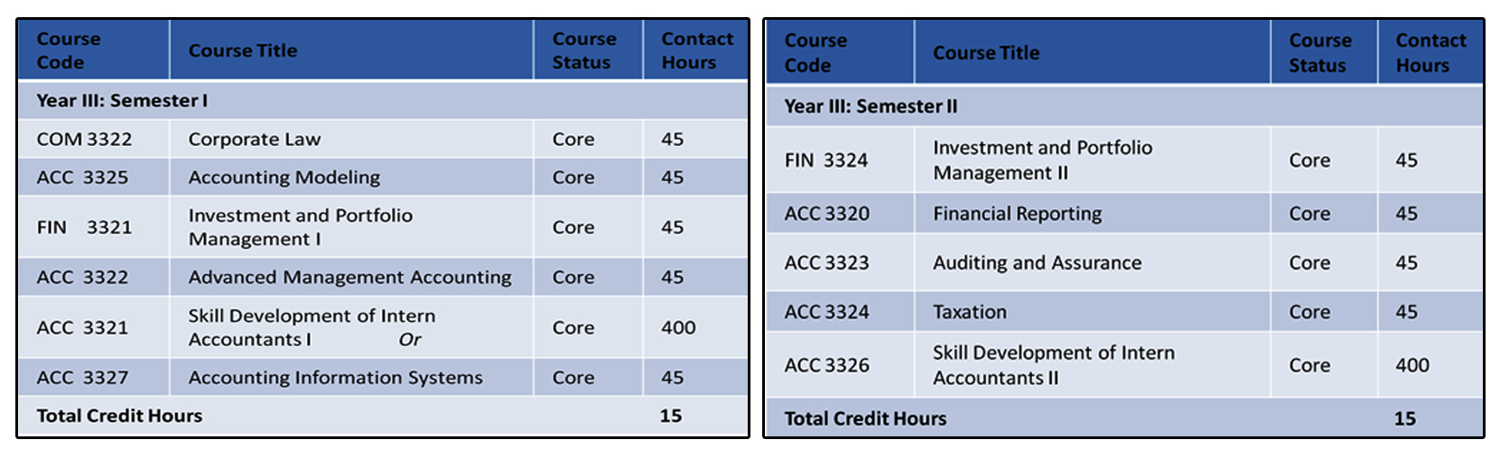 Third Year- Accounting Specialization