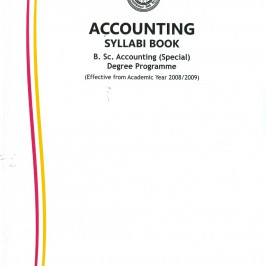 The Accounting Department has prepared and published 'Accounting Syllabi Book' for B.Sc. Accounting (Special) Degree Program