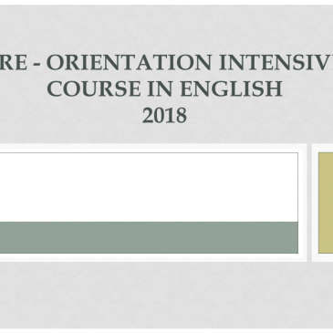 Pre – Orientation Intensive Course in English