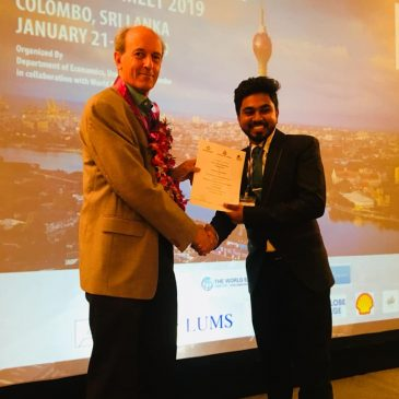 Pasan Wijayawardhana wins Best Paper Award at South Asian Economics Students' Meet (SAESM) 2019
