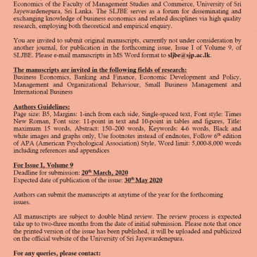 Call for Papers: Sri Lankan Journal of Business Economics (SLJBE) (Issue I, Volume 9 )