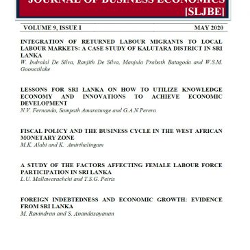 Sri Lankan Journal of Business Economics VOLUME 09 (ISSUE 1) – 2020