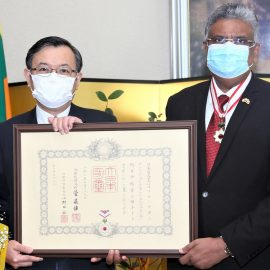 """Japan confers """"The Order of the Rising Sun, Gold Rays with Neck Ribbon"""" to Snr. Prof. Sampath Amaratunge"""