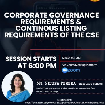 Guest Lecture – Corporate Governance requirements and continuous listing requirements of the CSE