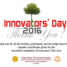 Thank You for Participating for Innovators' Day 2016