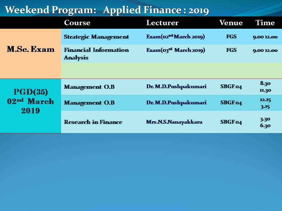 lecture schedule2019 march 2 - Department of Finance