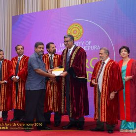 Senior Prof. H.H.D.N.P. Opatha was presented with the Research Award in recognition of achieving the highest h-index (the first place)