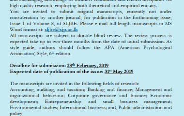 Call for Papers – SLJBE 2019