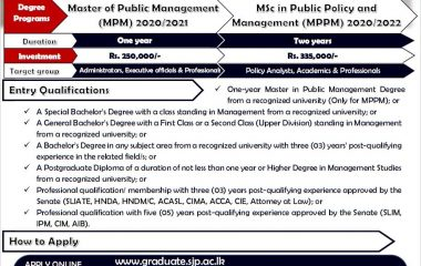 Master of Public Management & M.Sc in Public Policy and Management